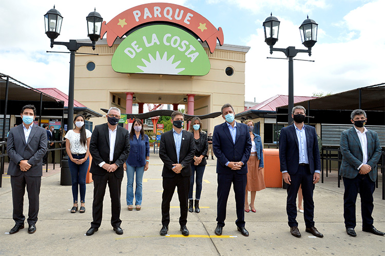 Julio Zamora acompañó el acto de reapertura del complejo Parque de la Costa junto a Kicillof y autoridades nacionales